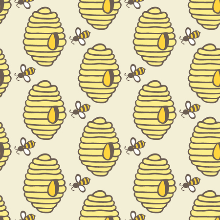 hives: Beehive and bee. Hand-drawn seamless cartoon pattern with honey bees and hives. Doodle drawing. Vector illustration.