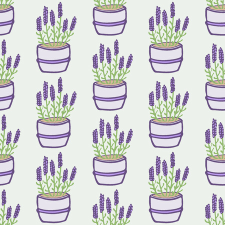 flower pots: Lavender. Seamless pattern with flower pots on the white background. Hand-drawn original background. Swatch inside. Vector illustration Illustration