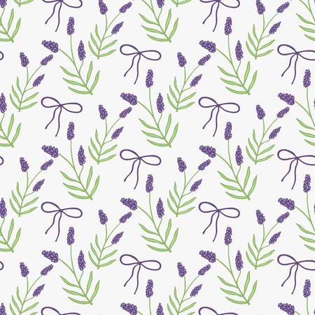 fragrant bouquet: Lavender. Seamless pattern with flowers and bows on the white background. Hand-drawn original background. Swatch inside. Vector illustration