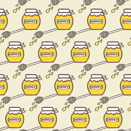 stick bug: Honey jar and spoon. Hand-drawn seamless cartoon pattern with honey jars and spoons. Doodle drawing. Vector illustration.