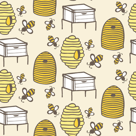 Beehive and bee. Hand-drawn seamless cartoon pattern with honey bees and hives. Doodle drawing. Vector illustration.