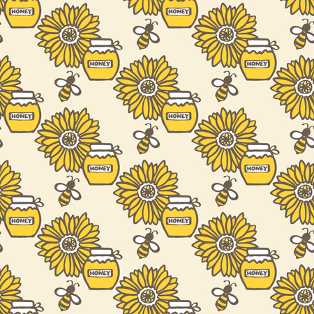 Honey jar, flower and bee. Hand-drawn seamless cartoon pattern with honey pot, bee and sunflower. Vector illustration. Doodle drawing. Illustration