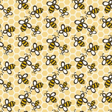 abeja: Abeja. Dibujado a mano sin fisuras patrón de dibujos animados con las abejas en el panal. Dibujo Doodle. Ilustración del vector.