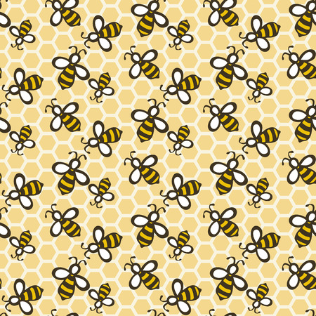 Bee. Hand-drawn seamless cartoon pattern with honey bees on the comb. Doodle drawing. Vector illustration.