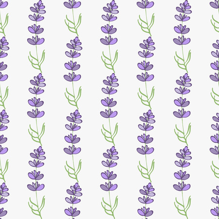 swatch: Lavender. Seamless pattern with flowers on the white background. Hand-drawn original background. Swatch inside. Vector illustration