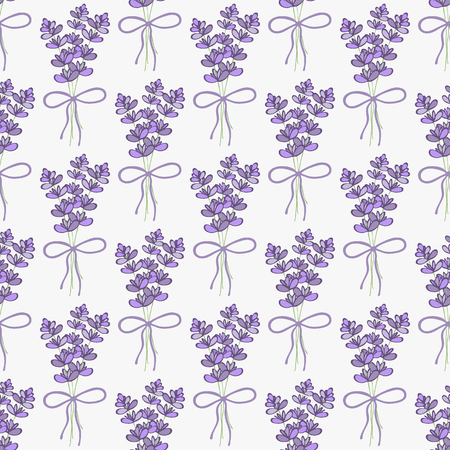 grass weave: Lavender. Seamless pattern with bouquets of lavender on the white background. Hand-drawn original background. Swatch inside. Vector illustration