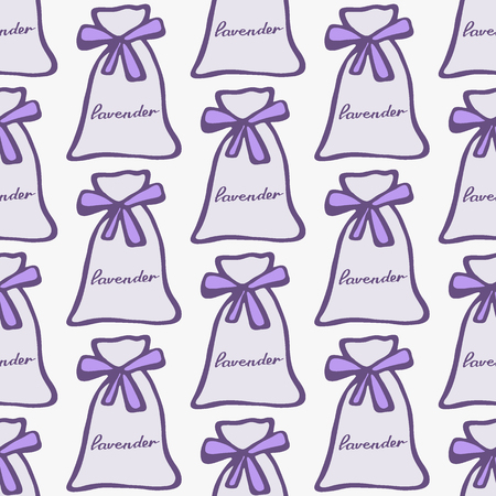 perfumery: Lavender. Seamless pattern with pouches or sachetes on the white background. Hand-drawn original background. Swatch inside. Vector illustration