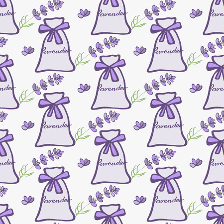 sleeping bags: Lavender. Seamless pattern with pouches or sachetes and flowers on the white background. Hand-drawn original background. Swatch inside. Vector illustration