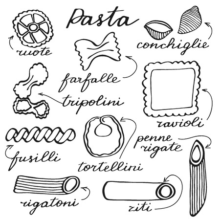 Pasta set. Hand-drawn cartoon kinds of pasta with naming in Italian. Doodle drawing. Vector illustration.