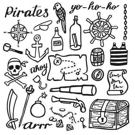pirate skull: Pirate set, sea and treasures. Hand-drawn cartoon collection. Doodle drawing. Vector illustration.