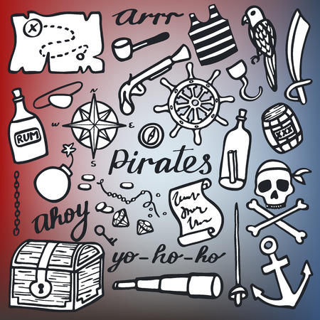 ahoy: Pirate set, sea and treasures. Hand-drawn cartoon collection. Doodle drawing. Vector illustration.