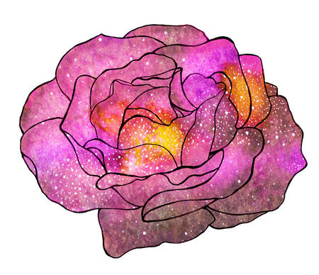 spiritual meditation creation: Cosmic rose. Hand-drawn flower with galaxy. Real watercolor drawing.