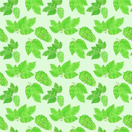 brewing: Hop, beer brewing theme. Seamless pattern with plant. Hand-drawn background. Real watercolor drawing. Stock Photo