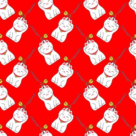 fortune cat: Maneki-neko. Seamless pattern with japanese lucky welcoming cat. Hand-drawn original background. Real watercolor drawing.