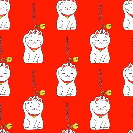 money cat: Maneki-neko. Seamless pattern with japanese lucky welcoming cat. Hand-drawn original background. Real watercolor drawing.