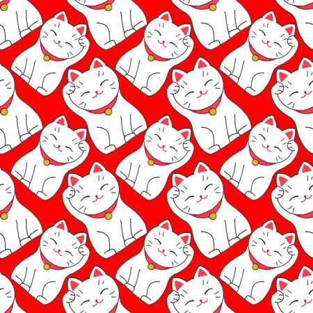 fortune cat: Maneki-neko. Seamless pattern with japanese lucky welcoming cat.