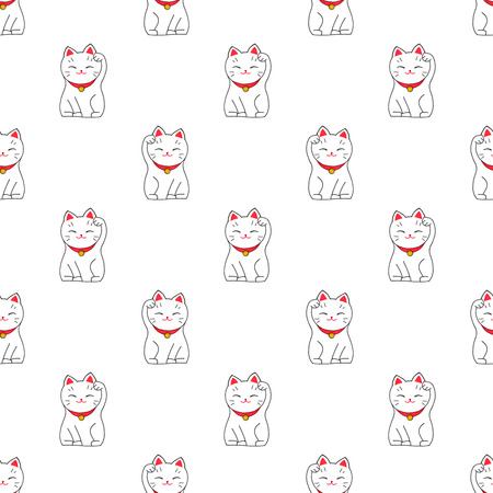 lucky charm: Maneki-neko. Seamless pattern with japanese lucky welcoming cat. Hand-drawn original background. Real watercolor drawing.