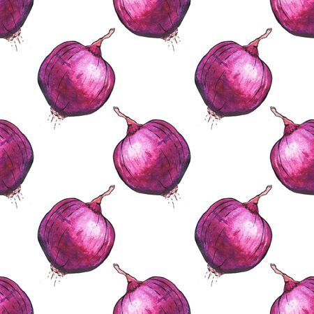 onions: Red onions. Seamless pattern with vegetables.