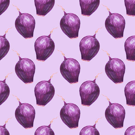 bulb and stem vegetables: Red onions. Seamless pattern with vegetables. Hand-drawn background. Real watercolor drawing.