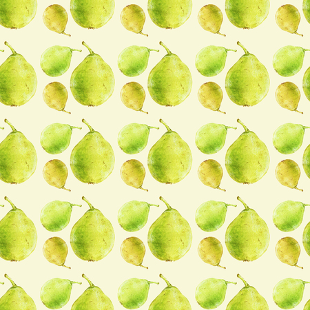 handdrawn: Pears. Seamless pattern with fruits. Hand-drawn background. Real watercolor drawing.