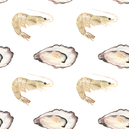 prawns: Oyster and prawn - seafood and marine cuisine. Seamless watercolor pattern with oysters and prawns. Hand-drawn original background. Real watercolor drawing.