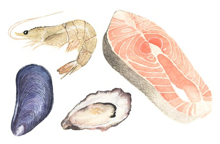 Seafood. Set of watercolor oyster, mussel, salmon steak and sea prawn on the white background. Real watercolor drawing. 免版税图像