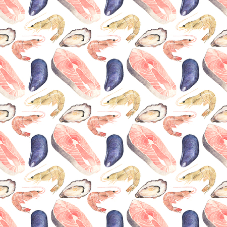 salmon steak: Seafood. Seamless watercolor pattern with oysters, mussels, salmon steak and sea prawn on the white background. Hand-drawn original background. Real watercolor drawing. Stock Photo