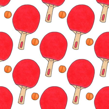 real tennis: Table tennis racquets and balls. Seamless watercolor pattern with sport equipment. Hand-drawn original background. Real watercolor drawing.