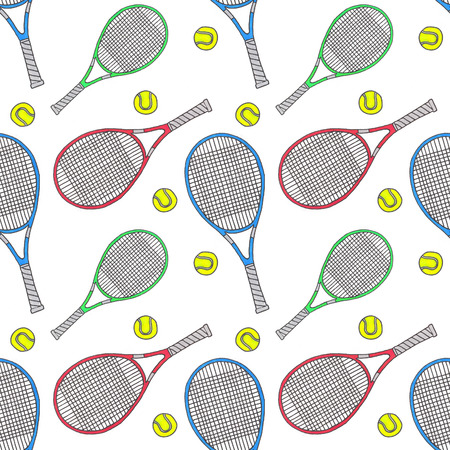raquet: Tennis racquets and balls. Seamless watercolor pattern with soprt equipment. Hand-drawn original background. Real watercolor drawing. Stock Photo