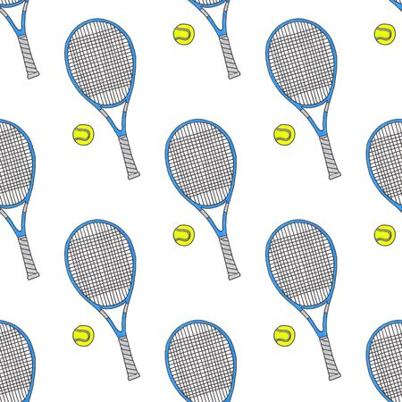 real tennis: Tennis racquets and balls.Seamless watercolor pattern with sport equipment. Hand-drawn original background. Real watercolor drawing.