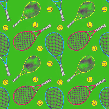 real tennis: Tennis racquets and balls.Seamless watercolor pattern with soprt equipment. Hand-drawn original background. Real watercolor drawing. Stock Photo