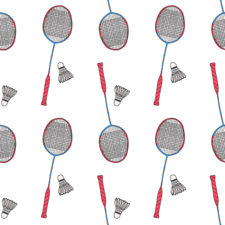 Badminton racquets and shuttlecocks. Seamless watercolor pattern with sport equipment. Hand-drawn original background. Real watercolor drawing. Imagens