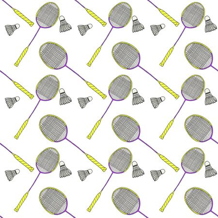 raquet: Badminton racquets and shuttlecocks. Seamless watercolor pattern with sport equipment. Hand-drawn original background. Real watercolor drawing. Stock Photo
