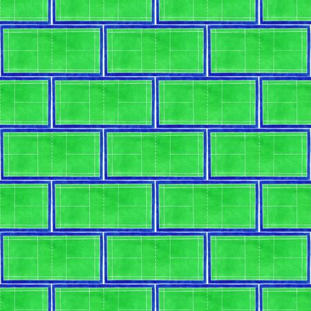 real tennis: Badminton court. Seamless pattern with hand-drawn green tennis courts on the white background. Real watercolor drawing