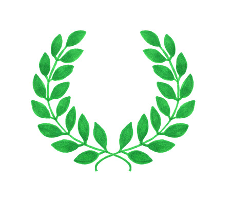 laureate: Laurel wreath. Hand-drawn laureate wreath on the white background. Real watercolor drawing Stock Photo