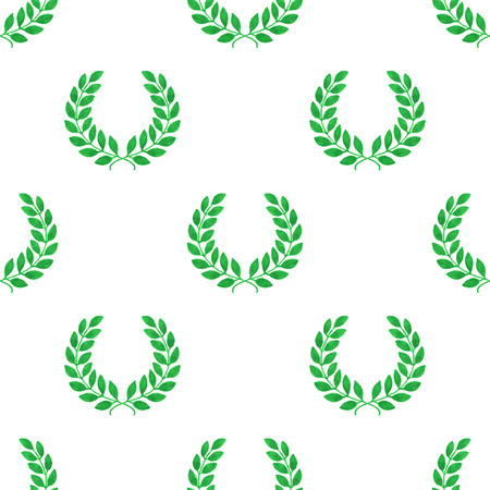 laureate: Seamless pattern with hand-drawn laureate wreath on the white background.