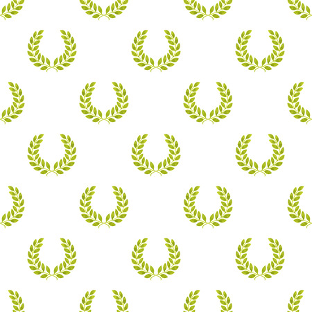laureate: Laurel wreath. Seamless pattern with hand-drawn laureate wreath on the white background. Real watercolor drawing