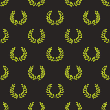 laureate: Seamless pattern with hand-drawn laureate wreath on the black background. Stock Photo