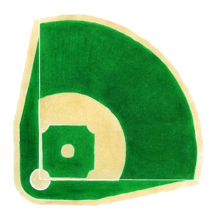 arial: Hand-drawn baseball diamond on the white background.