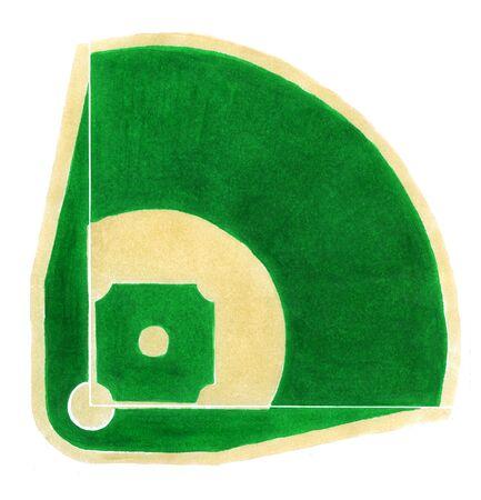 baseball diamond: Hand-drawn baseball diamond on the white background.