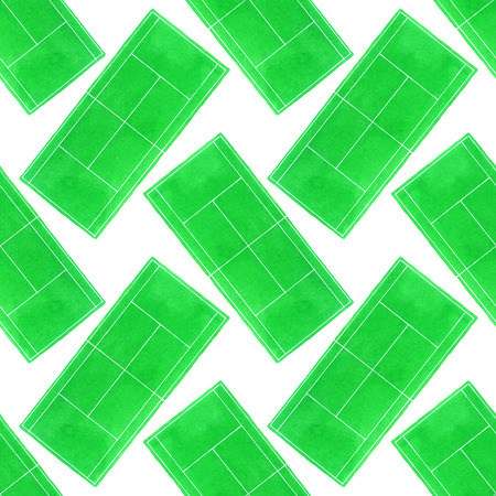 synthetic court: Tennis court. Seamless pattern with hand-drawn grass surface tennis courts on the white background.