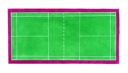 indoor court: Badminton court. Hand-drawn green badminton or tennis court on the white background. Real watercolor drawing Stock Photo