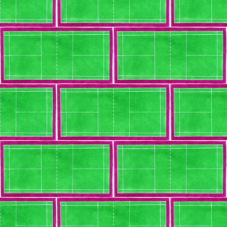 Badminton court. Seamless pattern with hand-drawn green tennis courts on the white background. Real watercolor drawing