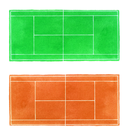 indoor court: Tennis court. Hand-drawn grass and clay surface tennis courts on the white background. Real watercolor drawing