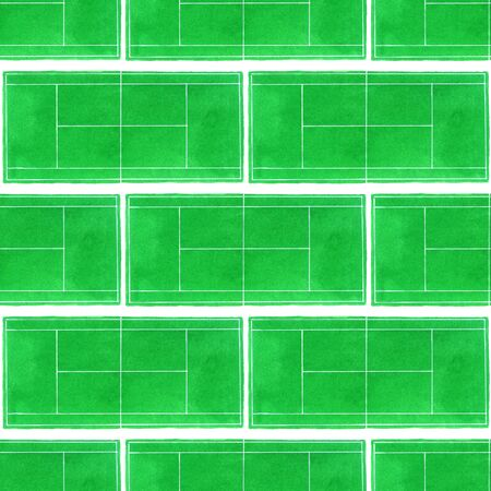 indoor court: Seamless pattern with hand-drawn grass surface tennis courts on the white background. Stock Photo