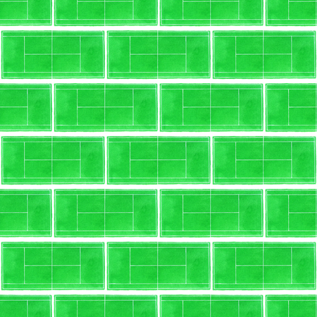 indoor court: Tennis court. Seamless pattern with hand-drawn grass surface tennis courts on the white background. Real watercolor drawing Stock Photo
