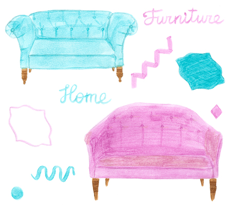 divan: Muebles del hogar. Conjunto drenado mano con sofá o diván y elemets decorativos. acuarela dibujo real.