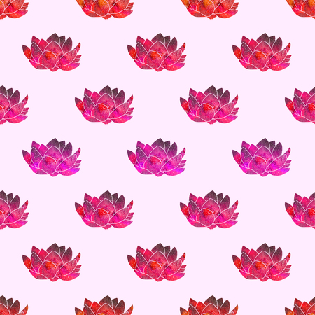 svadhisthana: Red lotus. Seamless pattern with cosmic or galaxy flowers. Hand-drawn original floral background. Real watercolor drawing.