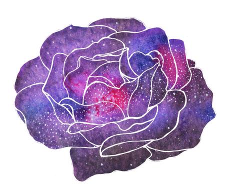 galaxie: Cosmic Rose. Von Hand gezeichnet Blume mit Galaxie. Echtaquarellzeichnung. Lizenzfreie Bilder