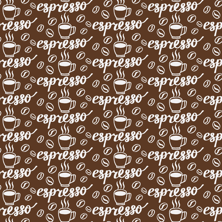 naming: Espresso. Seamless pattern with hand-drawn calligraphy with coffee drink naming, cup and beans. Doodle drawing. Vector illustration. Illustration